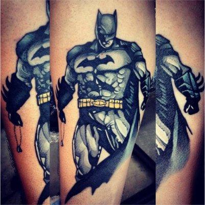 Colorful custom Batman tattoo by Green Bay, WI tattoo artist Greg Counard