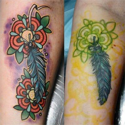 Colorful custom flower tattoo by Green Bay, WI tattoo artist Greg Counard