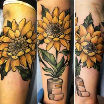 Colorful custom sunflower tattoo by Green Bay, WI tattoo artist Greg Counard