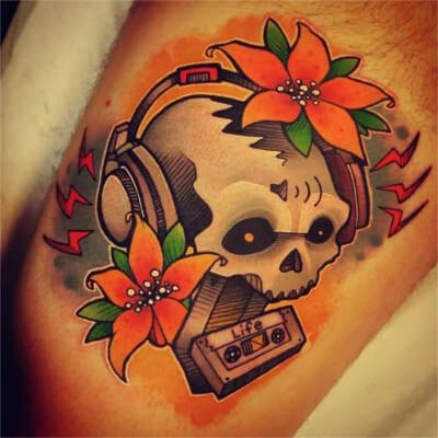 Colorful custom skull tattoo by Green Bay, WI tattoo artist Greg Counard