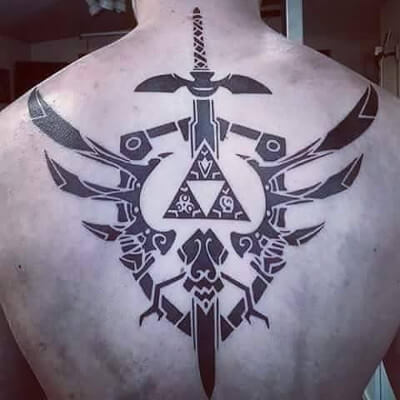 Colorful custom sword tattoo by Green Bay, WI tattoo artist Greg Counard