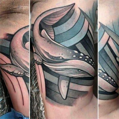 Colorful custom whale tattoo by Green Bay, WI tattoo artist Greg Counard