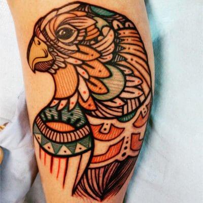 Colorful custom eagle tattoo by Green Bay, WI tattoo artist Greg Counard