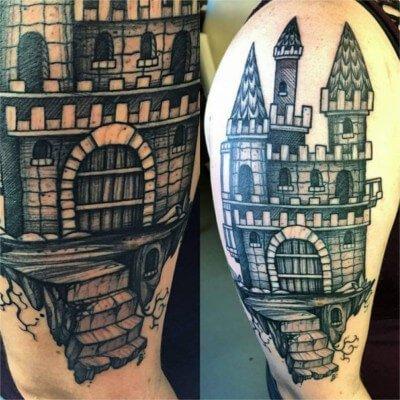 custom castle tattoo by Green Bay, WI tattoo artist Greg Counard