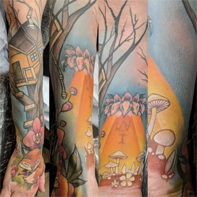 Colorful custom full arm sleeve tattoo by Green Bay, WI tattoo artist Greg Counard