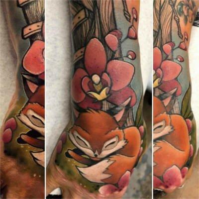 Colorful custom fox tattoo by Green Bay, WI tattoo artist Greg Counard