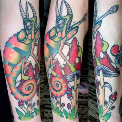 Colorful custom iguana tattoo by Green Bay, WI tattoo artist Greg Counard