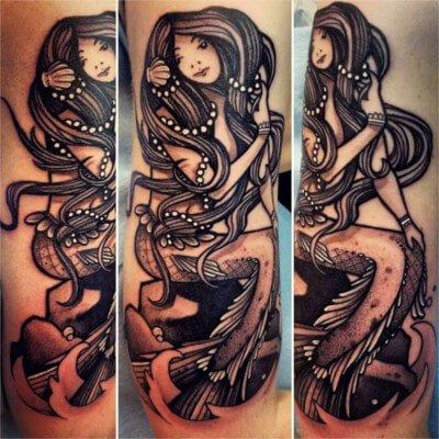 custom mermaid tattoo by Green Bay, WI tattoo artist Greg Counard