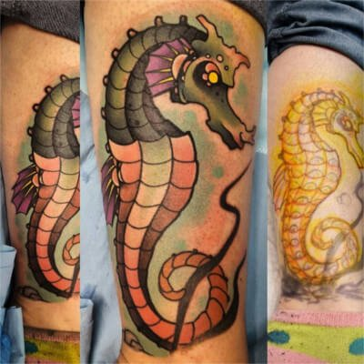 Colorful custom seahorse tattoo by Green Bay, WI tattoo artist Greg Counard