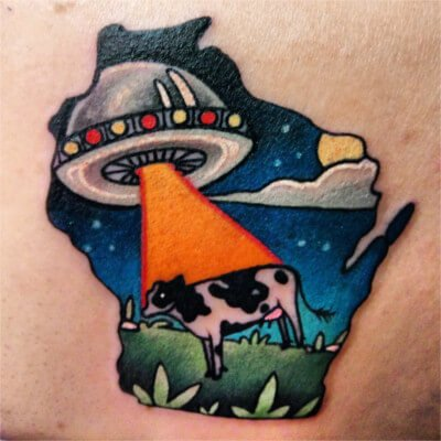 Colorful custom Wisconsin shaped tattoo by Green Bay, WI tattoo artist Greg Counard