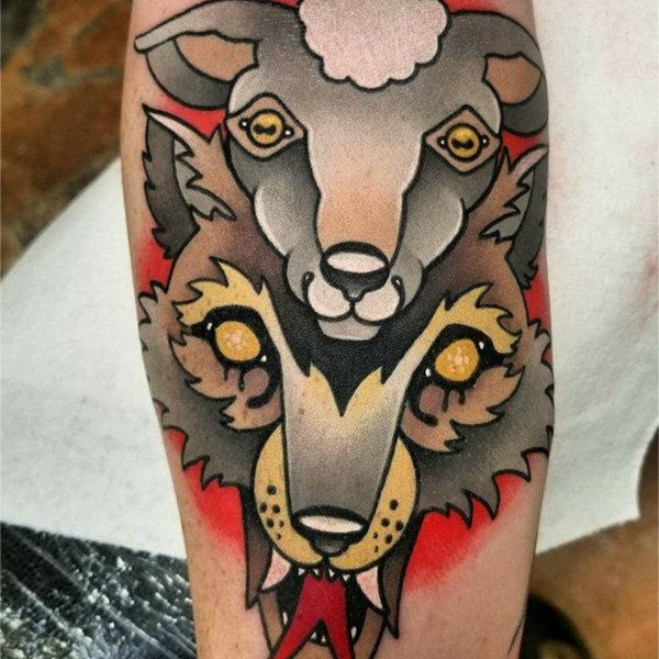 Custom wolf with sheep tattoo by Green Bay tattoo studio Endless Expansion Custom Tattoo