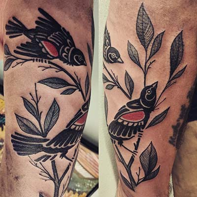 birds in branches tattoo by Greg Counard