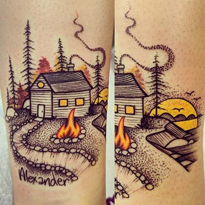 cabin and campfire tattoo by Greg Counard