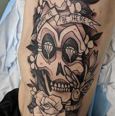 happy to be here skull by green bay tattoo artist greg counard