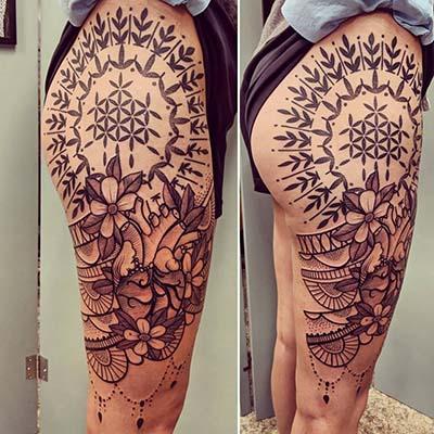 heart on thigh tattoo by Greg Counard