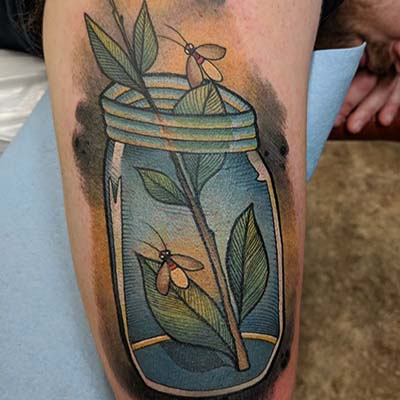 Bugs in a jar tattoo by greg counard