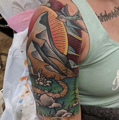 nature Scene Tattoo By Greg Counard