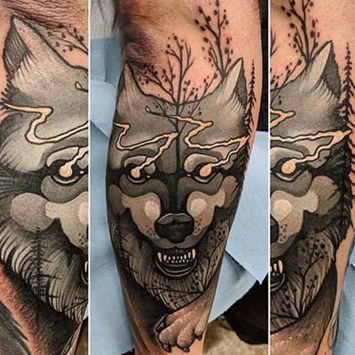 wolf tattoo by Greg Counard
